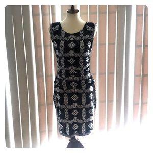 INC-black and white dress.